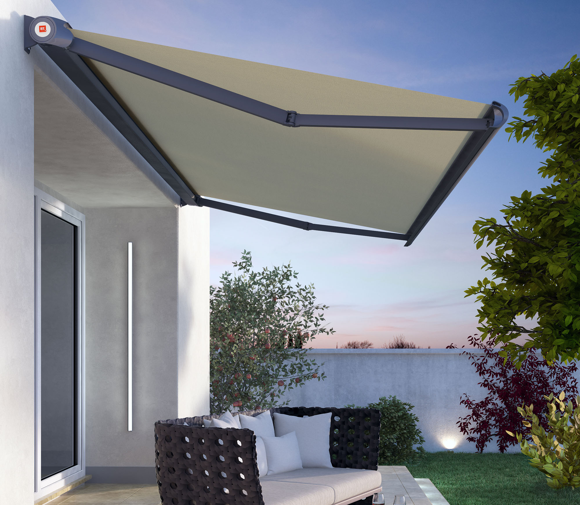 Tende da sole a bracci bt group for Tenda terrazzo